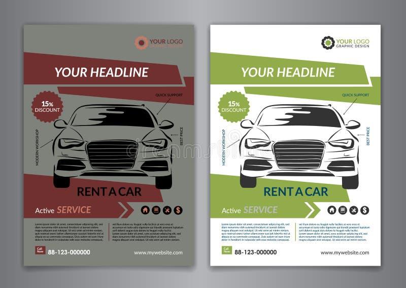 Fije A5, alquiler A4 una plantilla del aviador del negocio del coche Plantillas autos del folleto del servicio, portada de revist stock de ilustración