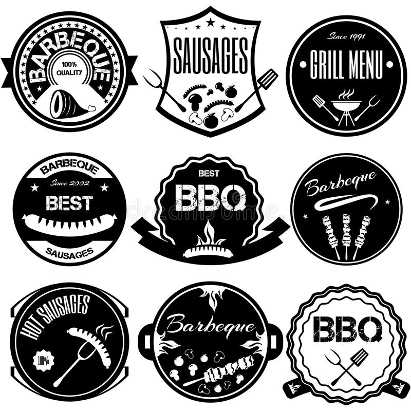 Fije Bbq, parrilla; salchichas; restaurante; filete; insignia retra del vintage ilustración del vector