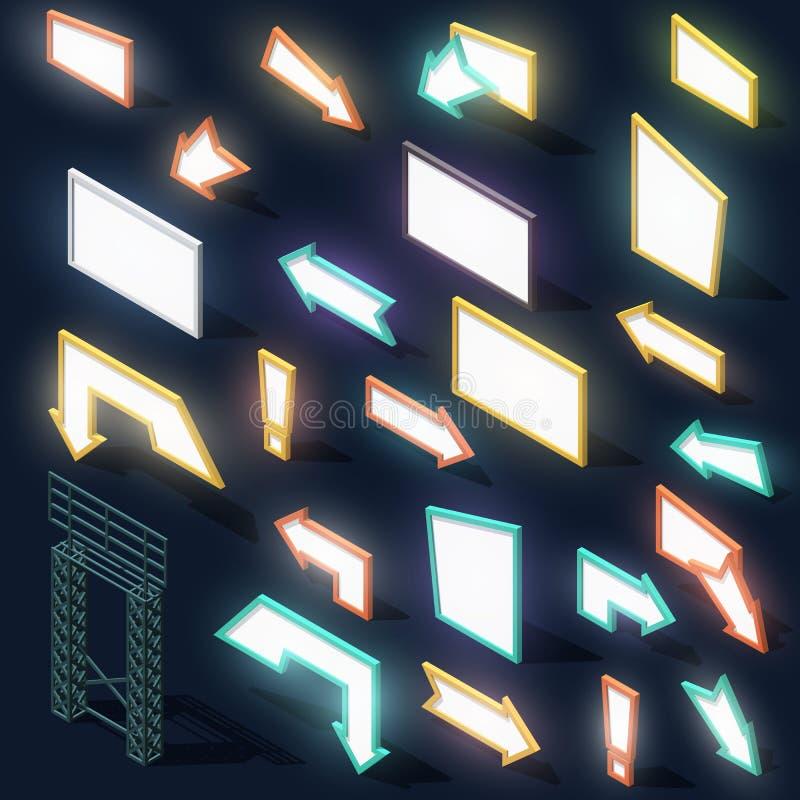 Fije 23 carteleras de las luces de la noche de las muestras de la flecha con la sombra isométricas ilustración del vector