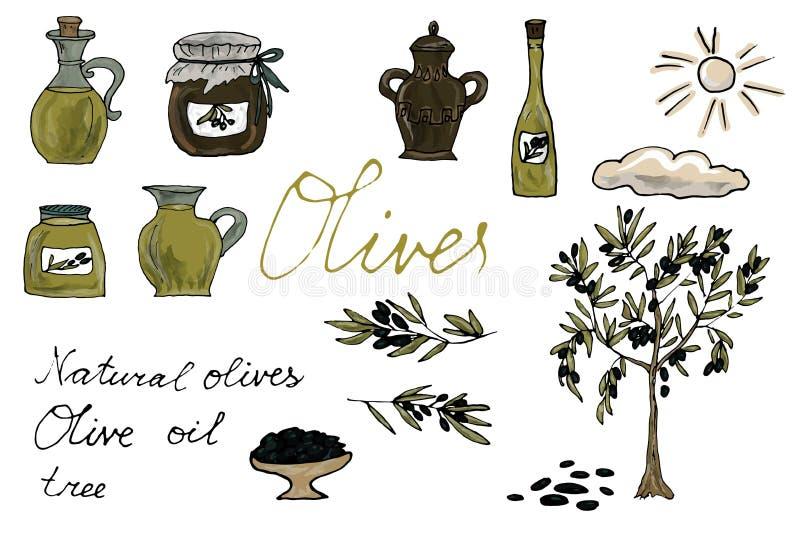 Fije, colección de aceitunas planas aisladas del vector y las botellas del aceite de oliva con pendiente stock de ilustración
