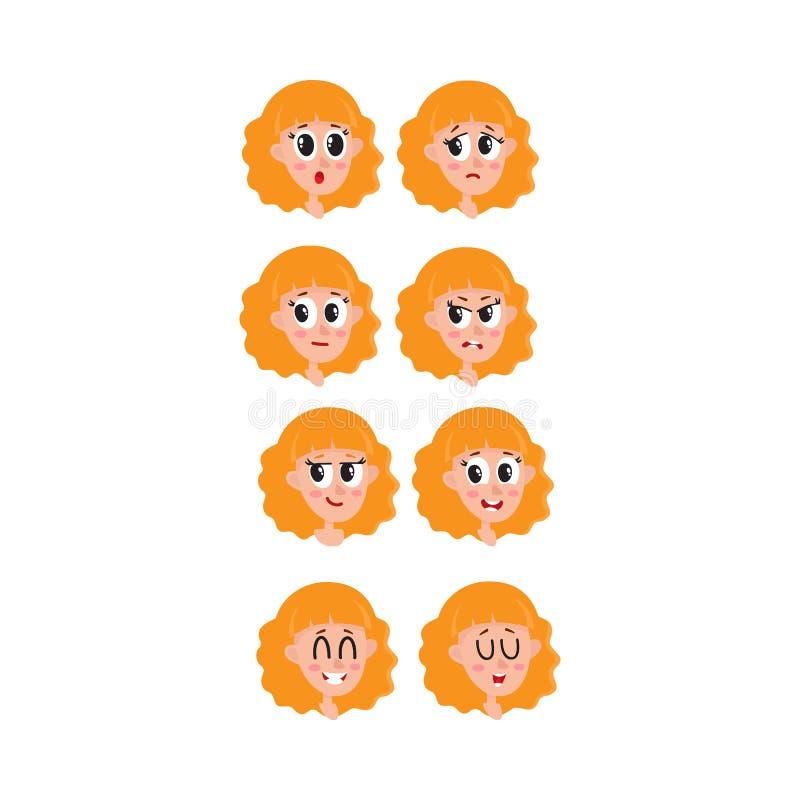 Fije, colección de mujer, expresiones de la cara de la muchacha, cabezas, avatares ilustración del vector