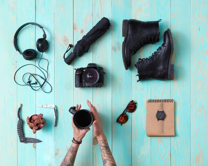 Fije, collage del ` s, accesorios de los hombres del ` s de las mujeres imagen de archivo libre de regalías