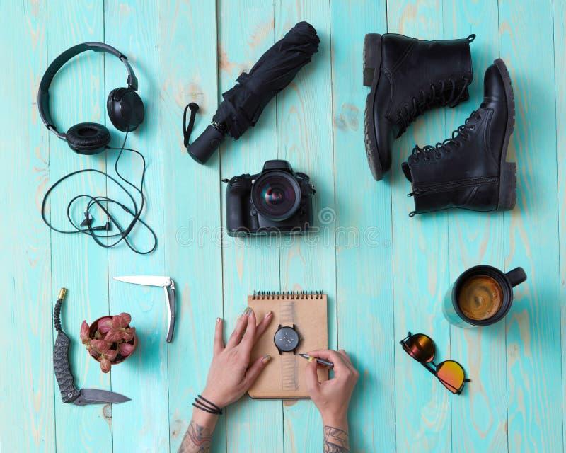 Fije, collage del ` s, accesorios de los hombres del ` s de las mujeres fotos de archivo