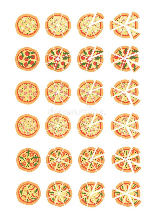 Fije con diversas variedades de pizza Corte las rebanadas Margherita, camarón, tocino, cebolla, tomates Visión superior Ilustraci ilustración del vector