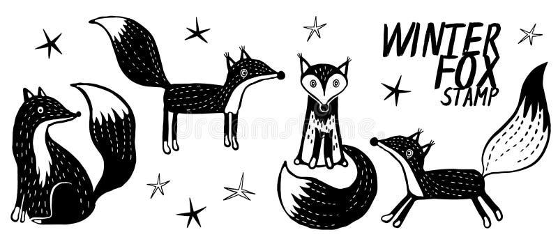 Fije con diverso zorro Mano dibujada, colección del vector del garabato ilustración del vector