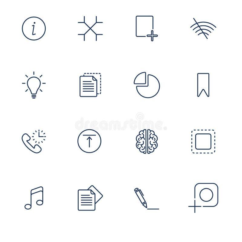 Fije con diversos iconos de UI ilustración del vector