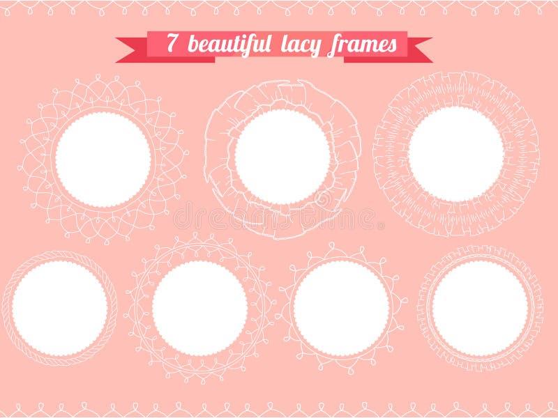 Fije con diversos marcos redondos De encaje, romántico stock de ilustración