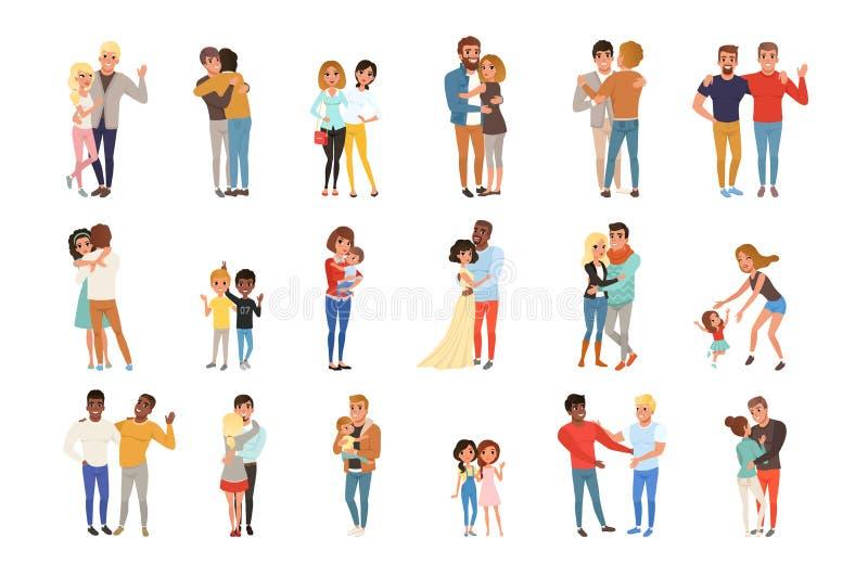 Fije con el abrazo de gente Amigos, novias, hermanos, madres y niños, pares en amor Personajes de dibujos animados con ilustración del vector