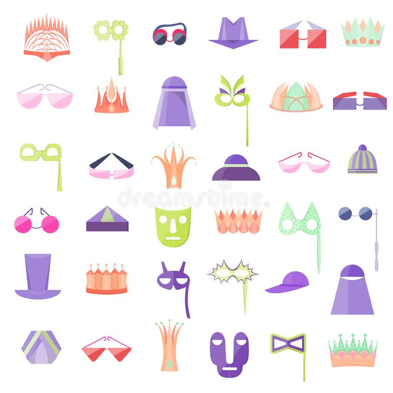 Fije con el icono de sombreros, de coronas, de vidrios y de máscaras stock de ilustración