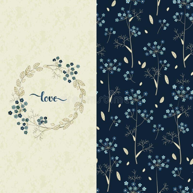 Fije con el modelo azul del vector con las flores bonitas y una tarjeta con amor dibujado mano de la palabra libre illustration