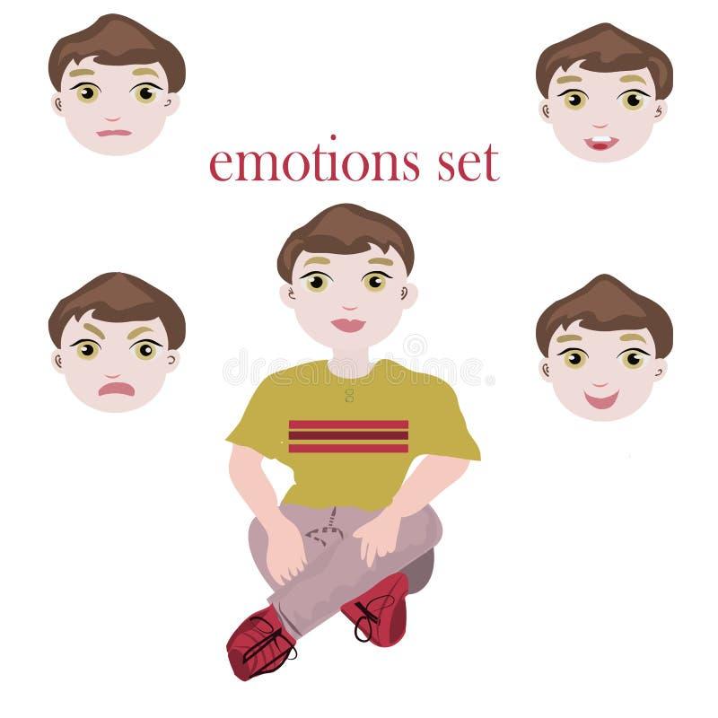 Fije con el muchacho lindo del adolescente en camiseta verde con diversas emociones Diversas expresiones de la cara Feliz, enferm stock de ilustración