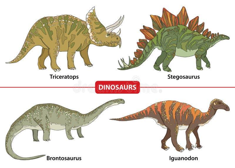 Fije con el Triceratops, el Stegosaurus, el Brontosaurus e Iguanodon en el fondo blanco stock de ilustración