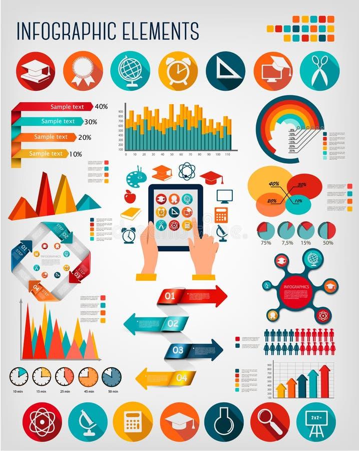 Fije con infographics de la educación stock de ilustración