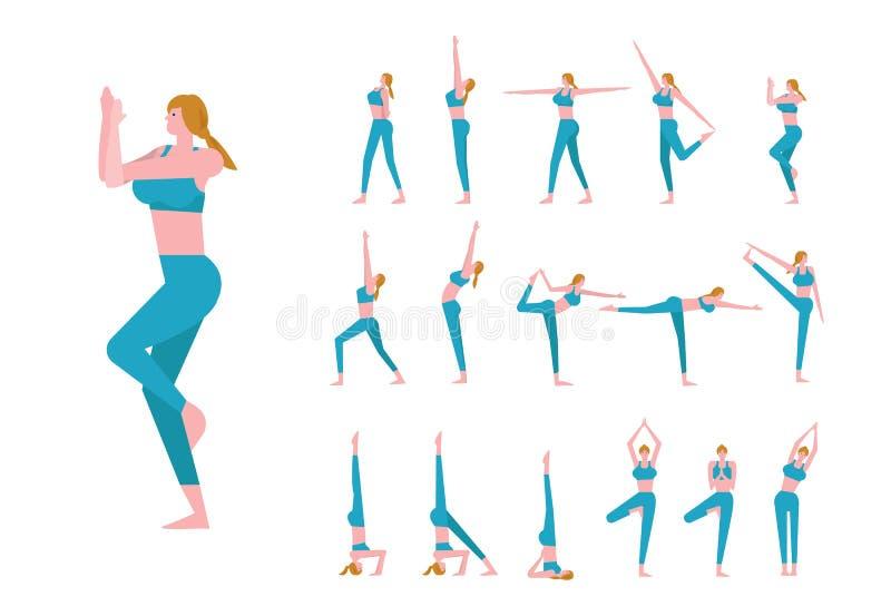 Fije con la mujer caucásica hermosa en actitudes de la yoga stock de ilustración