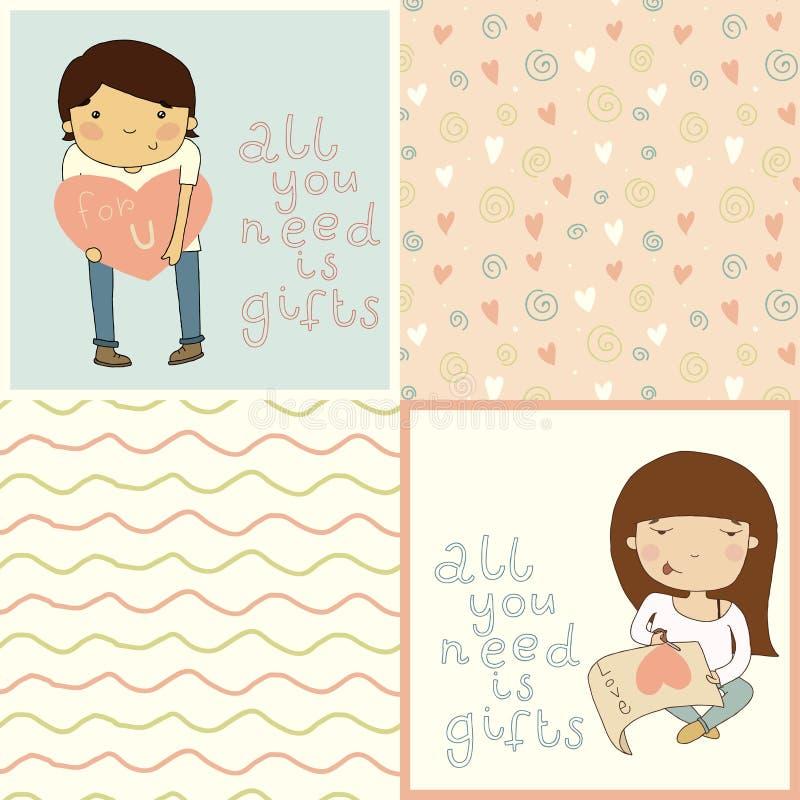 Fije con la tarjeta linda de los niños y los modelos inconsútiles preciosos. libre illustration