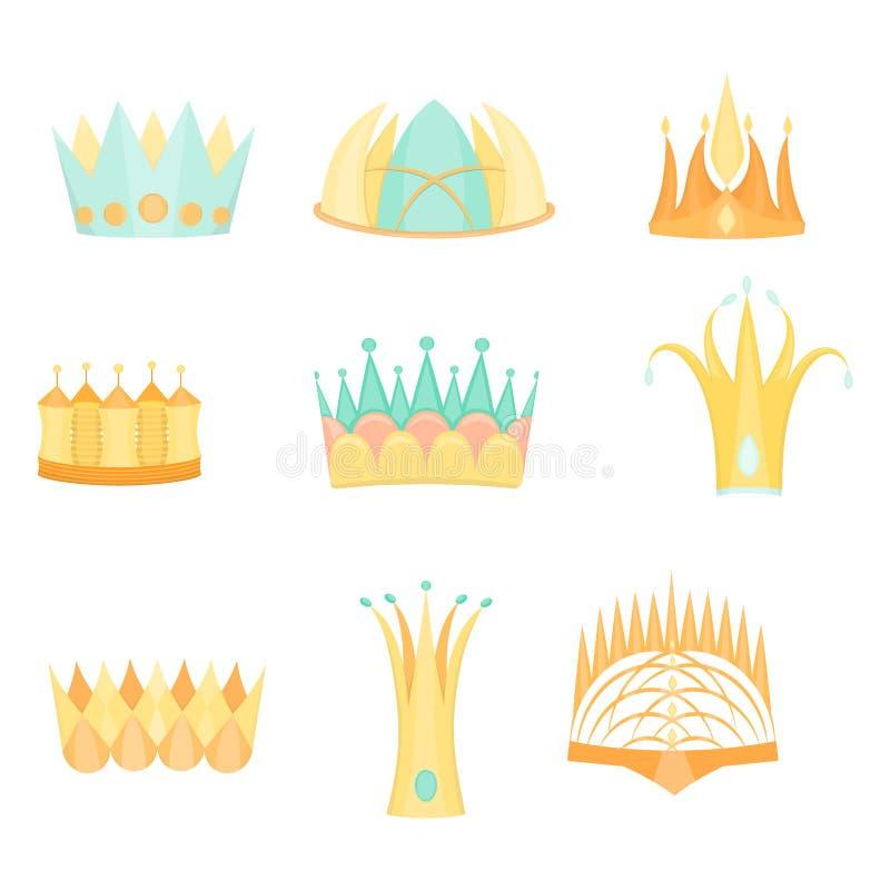 Fije con las coronas planas coloreadas diversas de la fantasía libre illustration