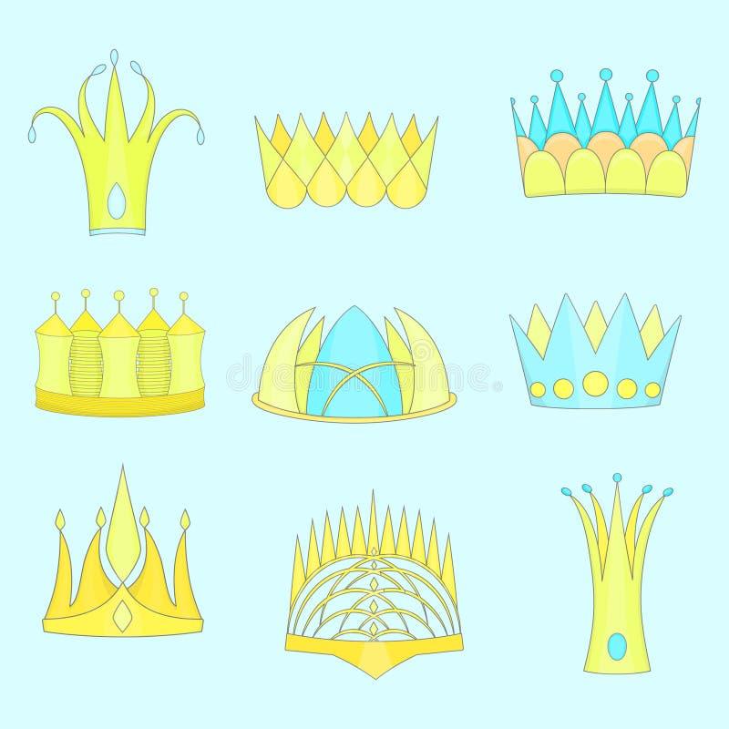 Fije con las coronas planas resumidas diversas de la fantasía stock de ilustración