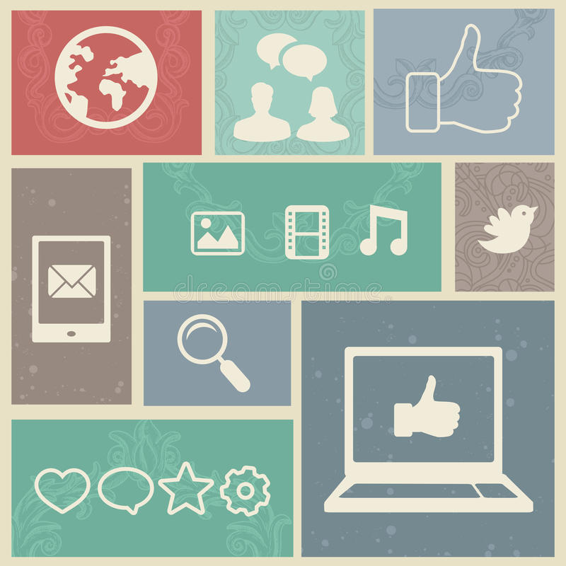 Fije con las escrituras de la etiqueta sociales de los media de la vendimia ilustración del vector