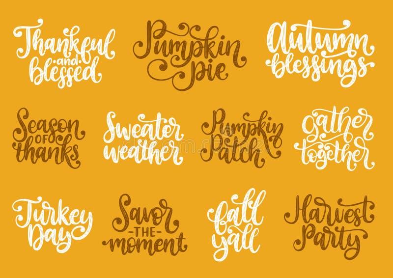 Fije con las letras para el día de la acción de gracias La estación de gracias, pastel de calabaza, agradecido y bendecido, vecto stock de ilustración