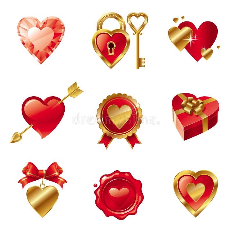 Fije con las muestras y los símbolos de las tarjetas del día de San Valentín stock de ilustración