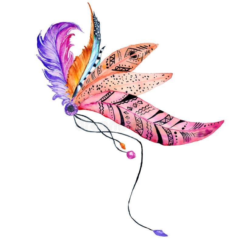 Fije con las plumas pintadas a mano de la acuarela libre illustration