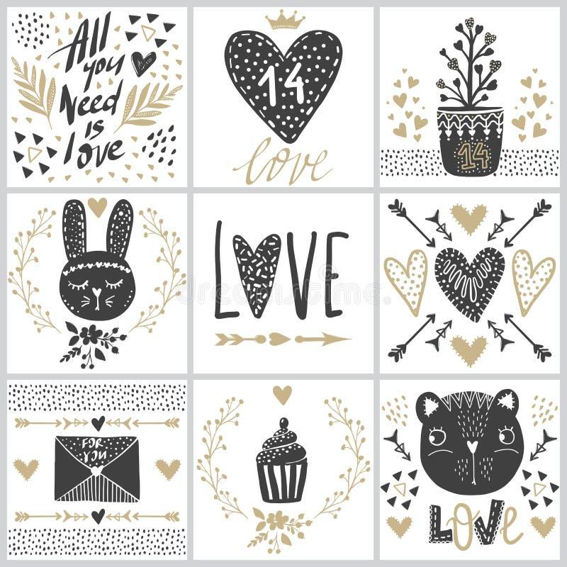 Fije con las tarjetas de felicitación del vector el día del ` s de la tarjeta del día de San Valentín ilustración del vector