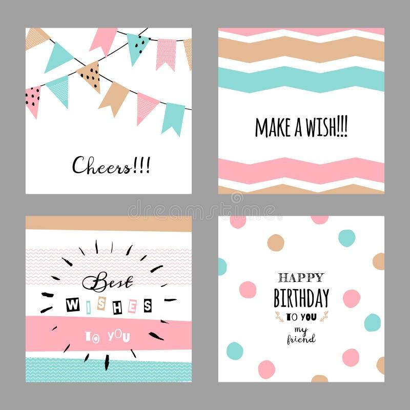 Fije con las tarjetas decorativas lindas para el cumpleaños stock de ilustración