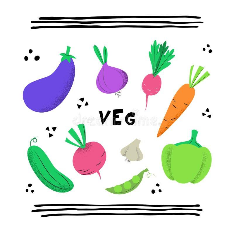 Fije con las verduras coloridas dibujadas mano del garabato stock de ilustración