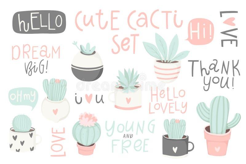 Fije con los cactus y las letras lindos Cactus lindo del tema del verano stock de ilustración