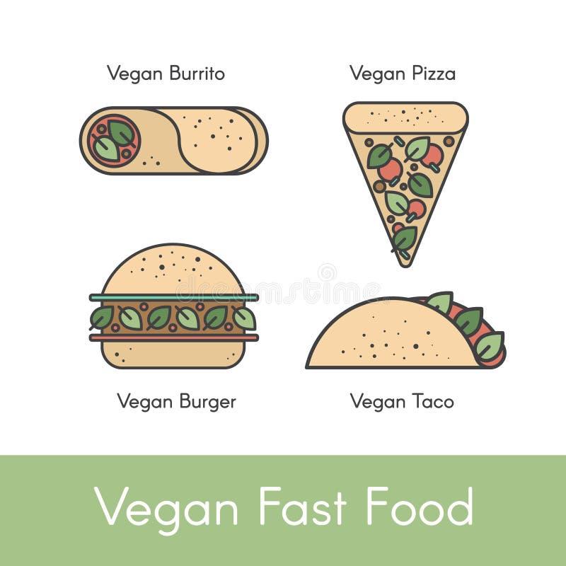 Fije con los diferentes tipos de alimentos de preparación rápida del vegano libre illustration