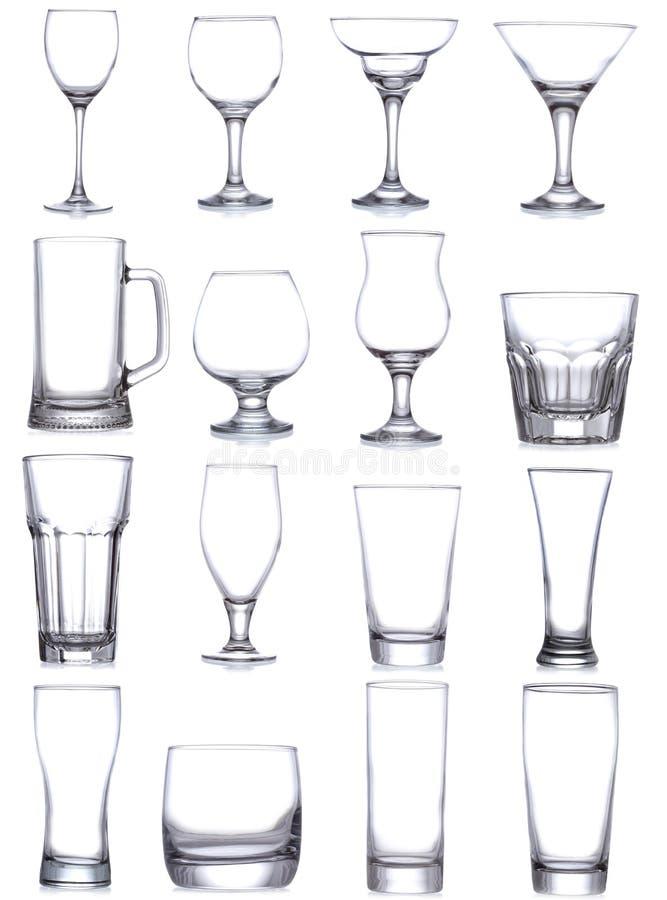 Fije con los diversos vidrios y tazas vacíos imagen de archivo libre de regalías