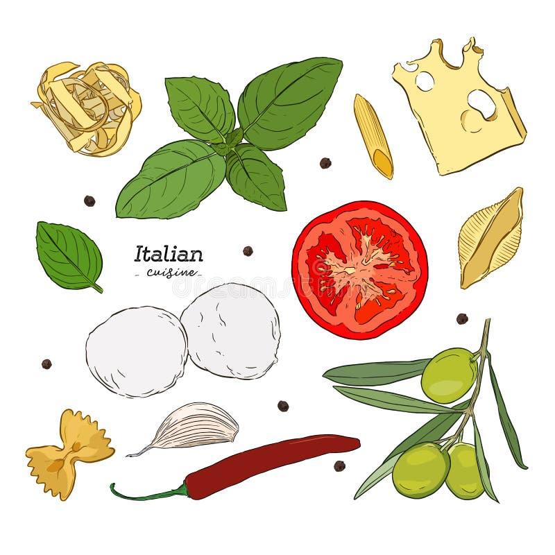 Fije con los ejemplos dibujados mano de la comida Cocina italiana ilustración del vector