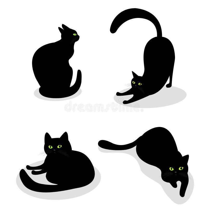 Fije con los gatos negros con los ojos verdes en diversas actitudes Aislado en el fondo blanco Colección del vector con los anima stock de ilustración