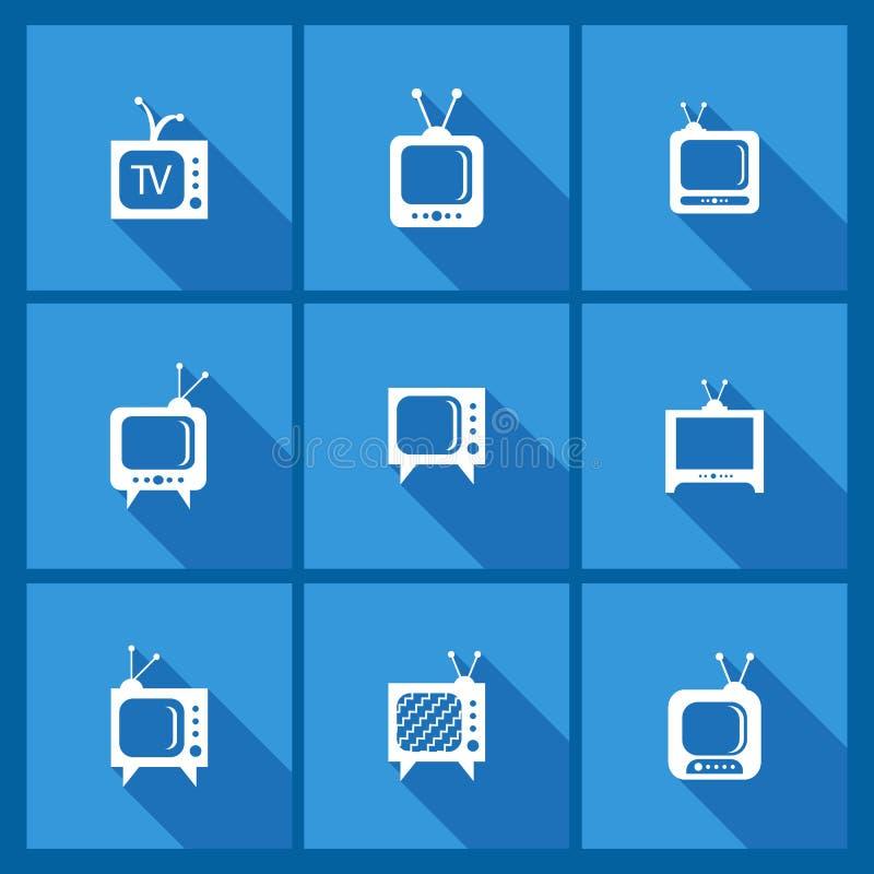 Fije con los iconos de la TV stock de ilustración