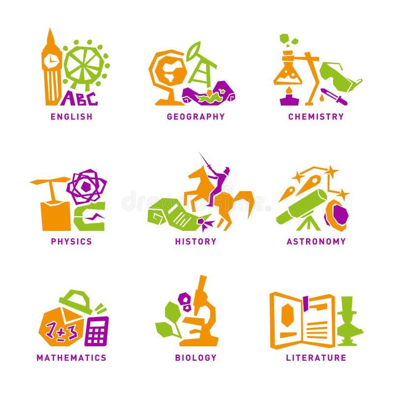 Fije con los iconos de los temas de escuela para el diseño Vector ilustración del vector