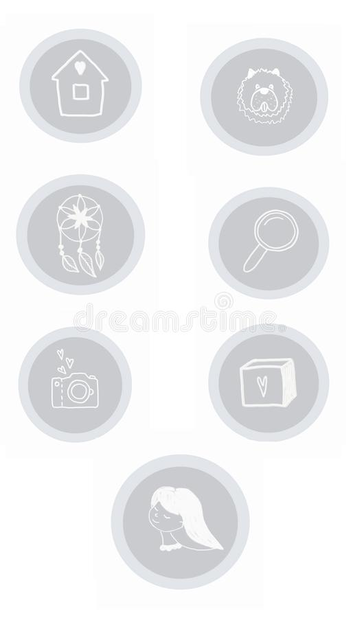 Fije con los iconos grises libre illustration