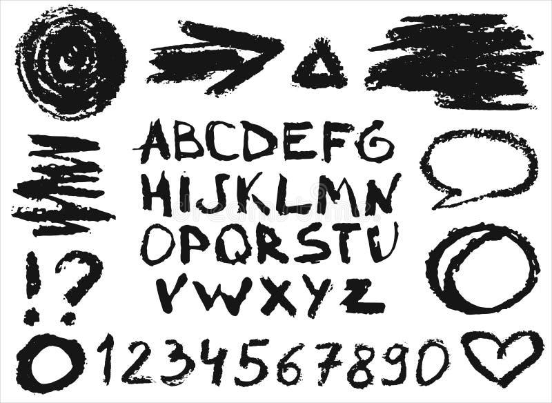 Fije con los números, las letras y diversos objetos pintados con tiza del carbón de leña Ejemplo dibujado mano, elementos del vec stock de ilustración
