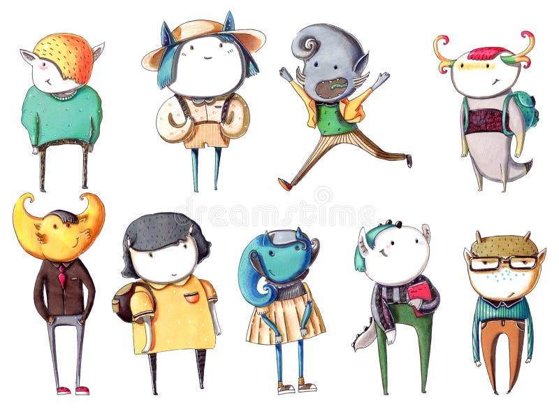 Fije con los niños coloridos dibujados mano de los monstruos, dibujados como alumnos con los libros, las mochilas, en ropa casual stock de ilustración