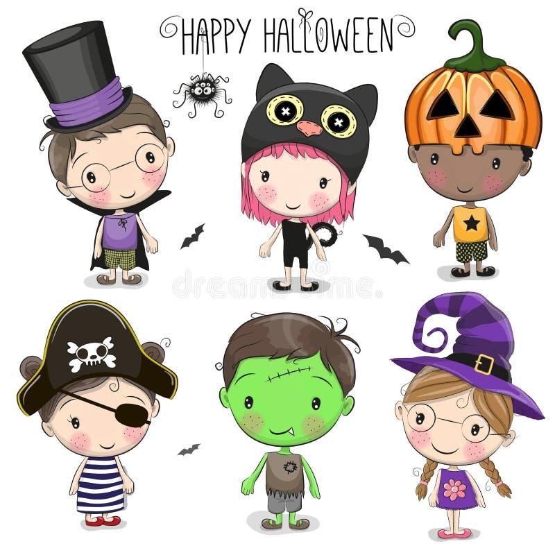 Fije con los niños lindos de Halloween ilustración del vector