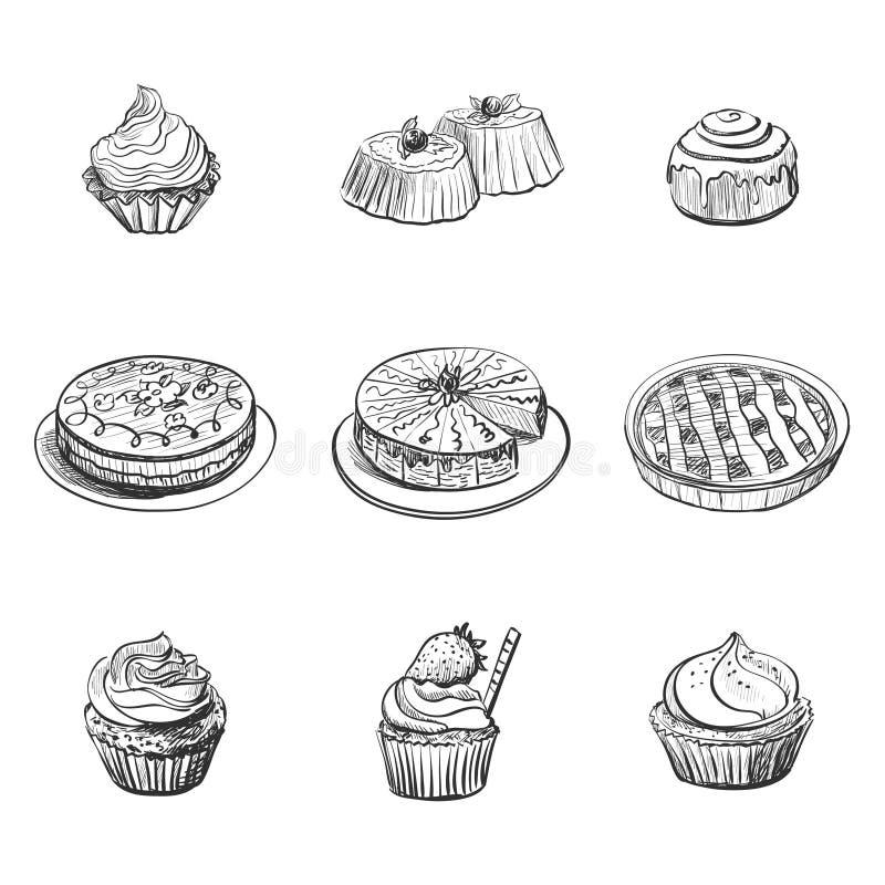Fije con los productos de la panadería, pasteles, molletes, tortas Iconos del alimento stock de ilustración