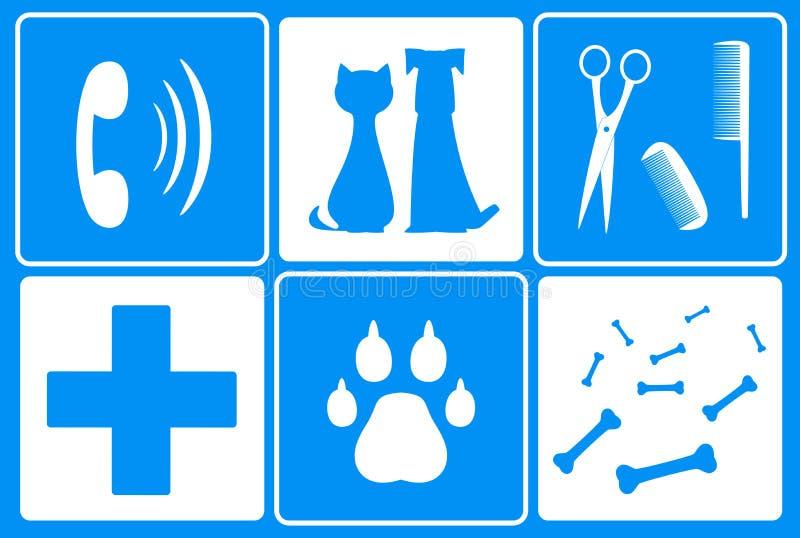 Fije con símbolo veterinario y el animal suministra sustancia pegajosa ilustración del vector