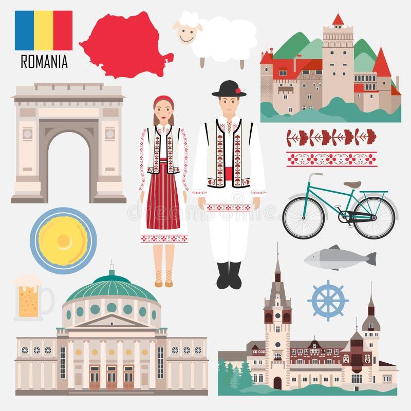 Fije con símbolos tradicionales rumanos de los objetos stock de ilustración