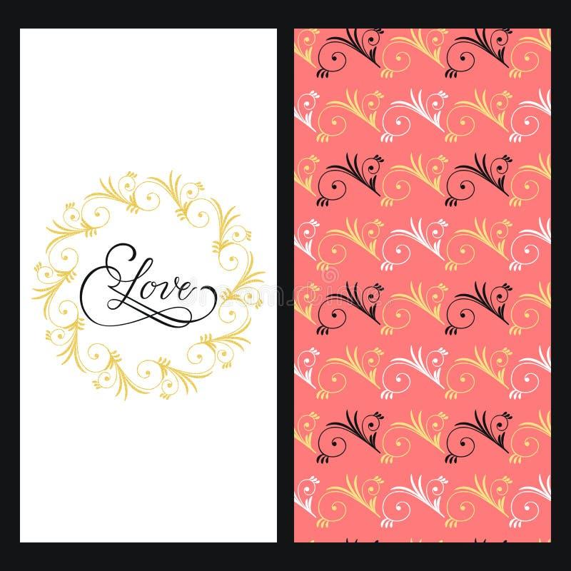 Fije con textura rosada inconsútil con flores coloridas y una tarjeta con amor elegante dibujado mano de la palabra en un marco f stock de ilustración