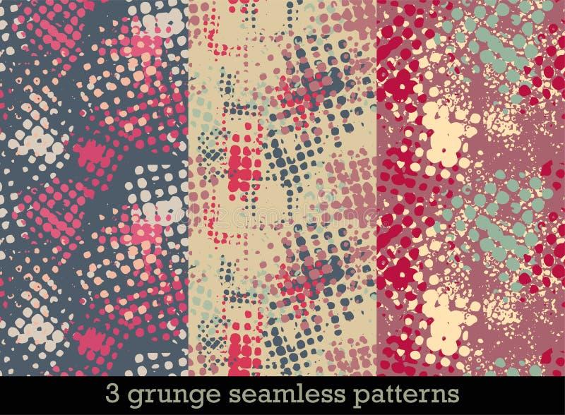 Fije con tres modelos inconsútiles en estilo del grunge con las impresiones de semitono coloridas ilustración del vector