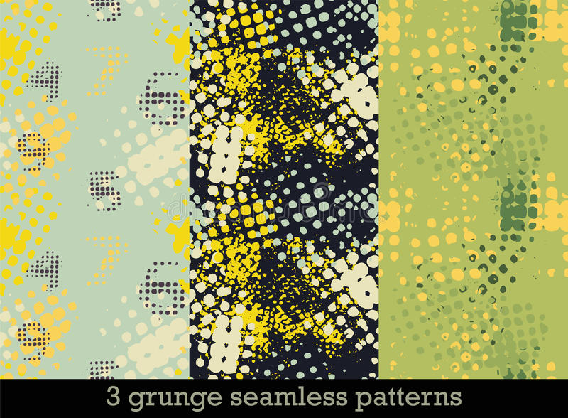 Fije con tres modelos inconsútiles en estilo del grunge con las impresiones de semitono coloridas stock de ilustración