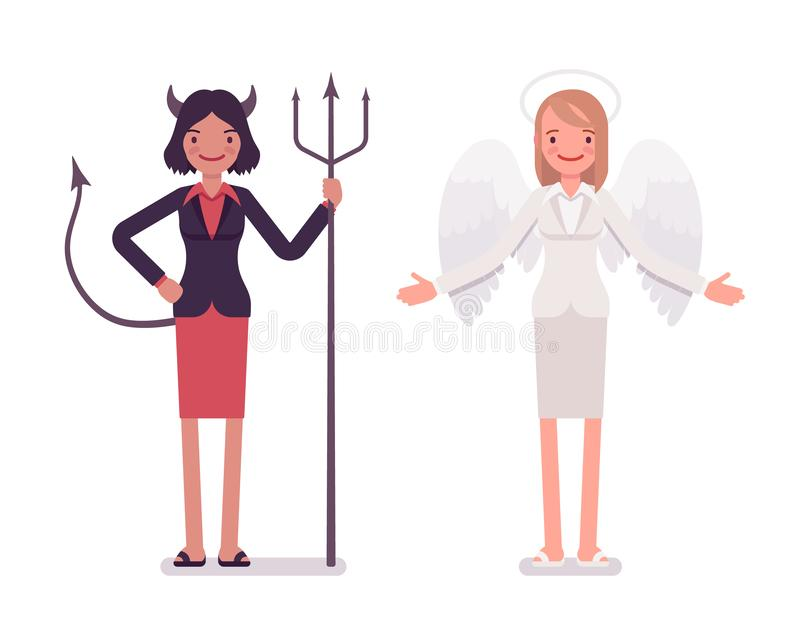 Fije de ángel femenino y de diablo ilustración del vector