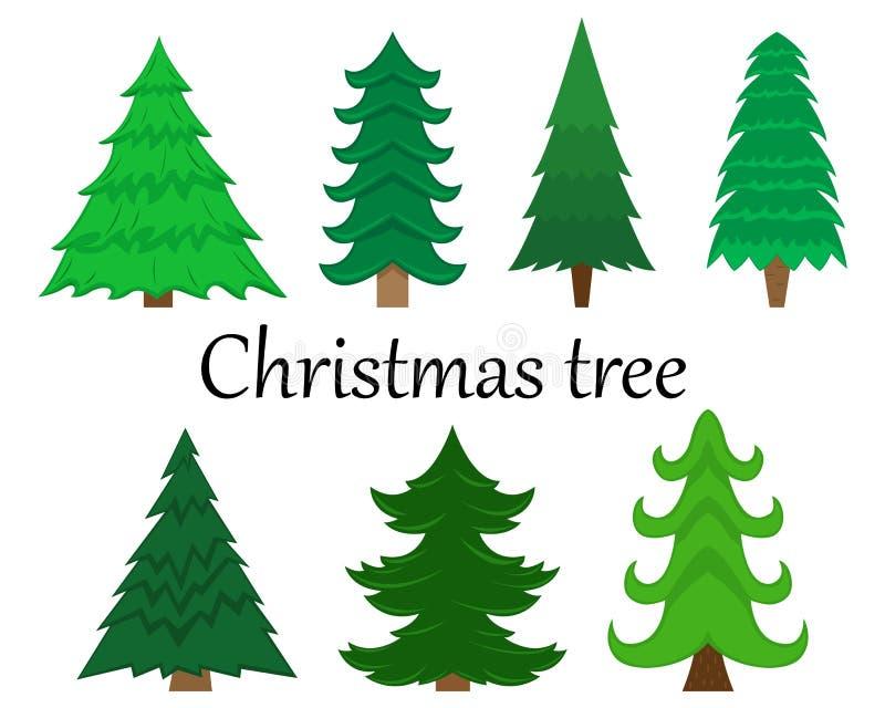 Fije de 7 árboles de navidad del vector sin la decoración libre illustration
