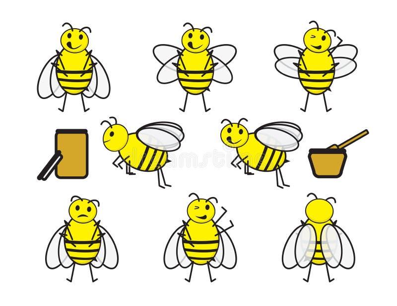 Fije de abejas lindas de la historieta y y de tarros de la miel en el fondo blanco ilustración del vector