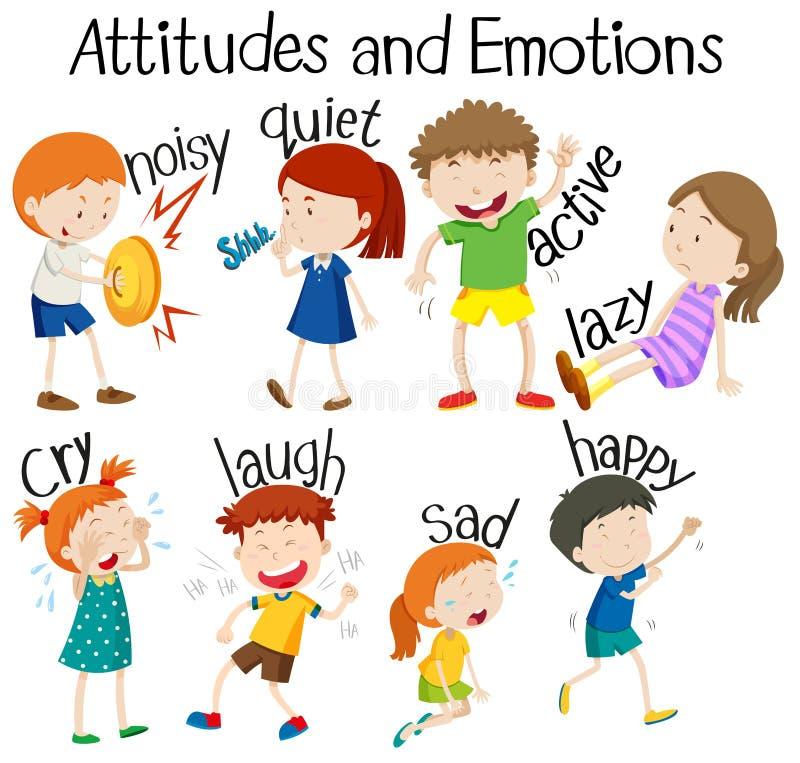 Fije de actitudes y de emociones stock de ilustración