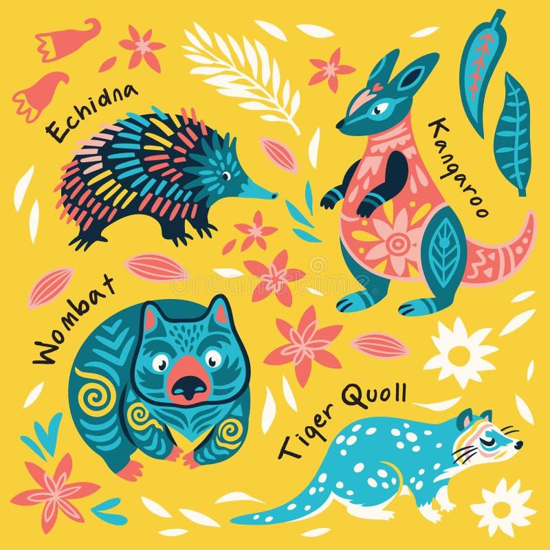Fije de animales australianos decorativos Ilustraci?n del vector stock de ilustración